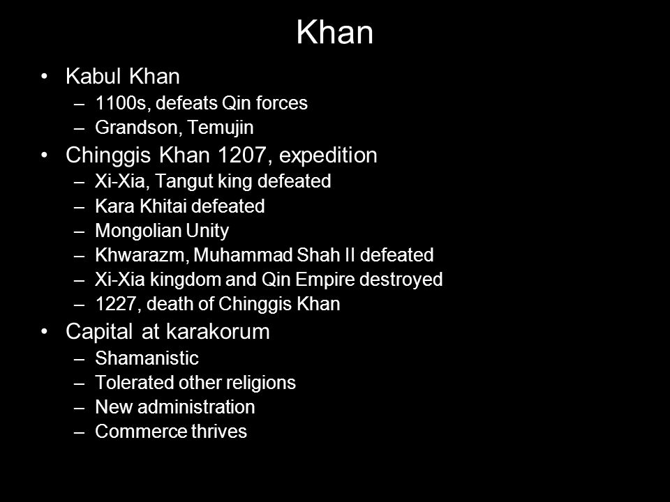 Khan Kabul Khan Chinggis Khan 1207, expedition Capital at karakorum