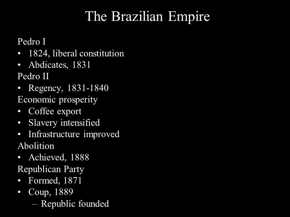 The Brazilian Empire Pedro I 1824, liberal constitution