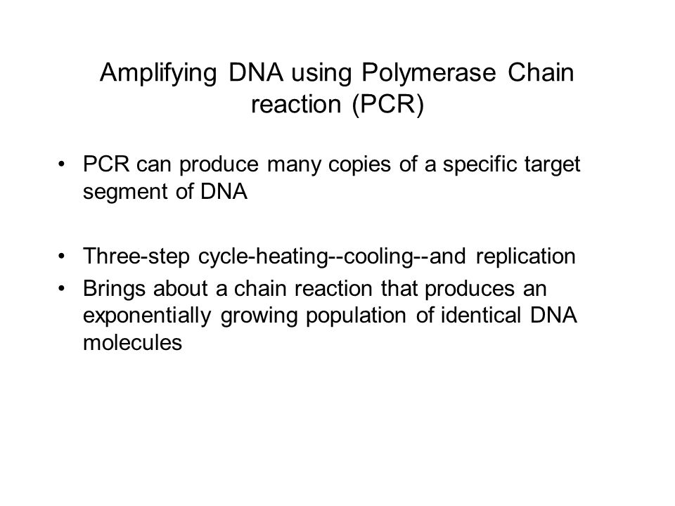 Amplifying DNA using Polymerase Chain reaction (PCR)