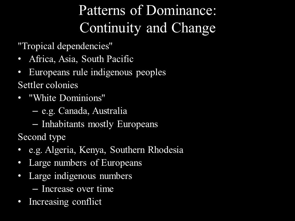 Patterns of Dominance: Continuity and Change