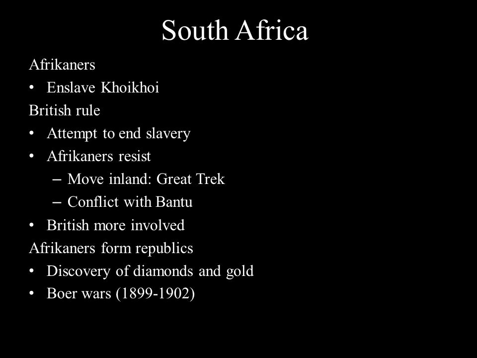 South Africa Afrikaners Enslave Khoikhoi British rule