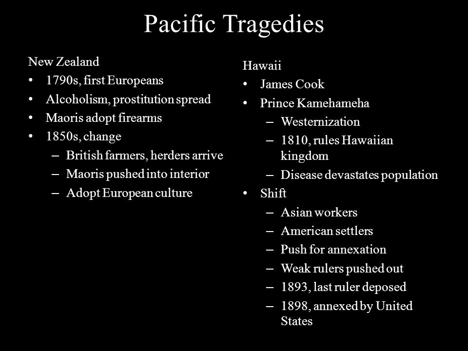 Pacific Tragedies New Zealand Hawaii 1790s, first Europeans James Cook