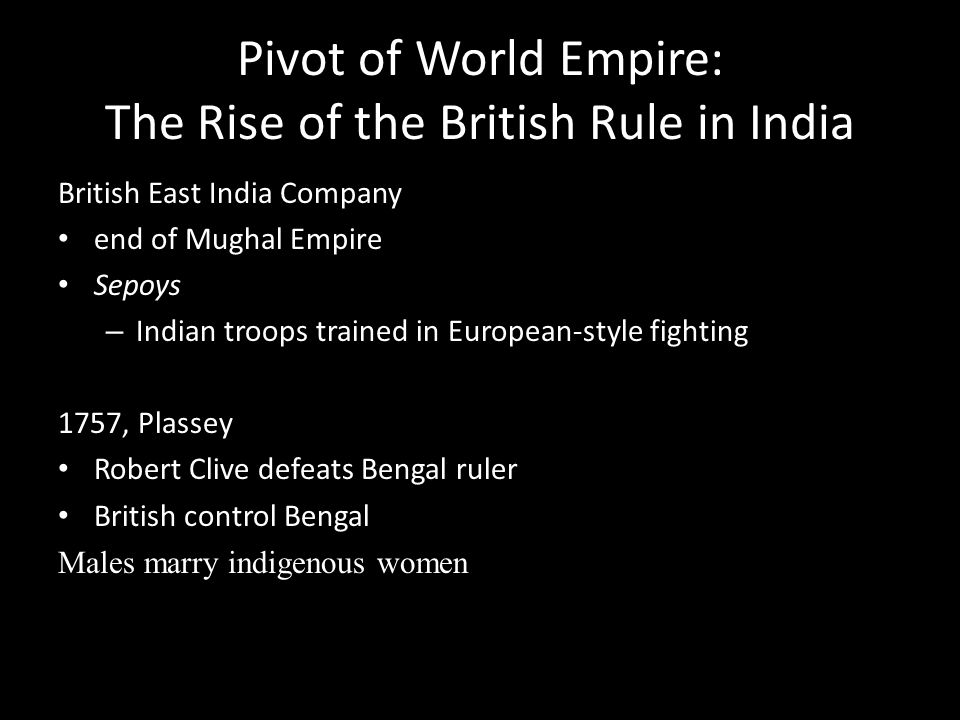 Pivot of World Empire: The Rise of the British Rule in India