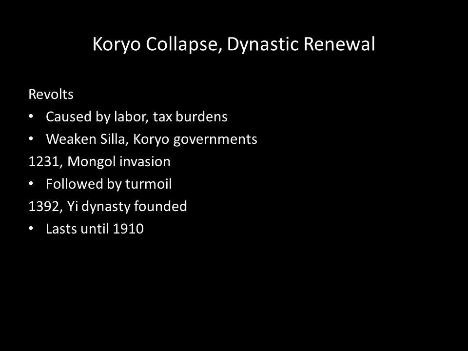 Koryo Collapse, Dynastic Renewal
