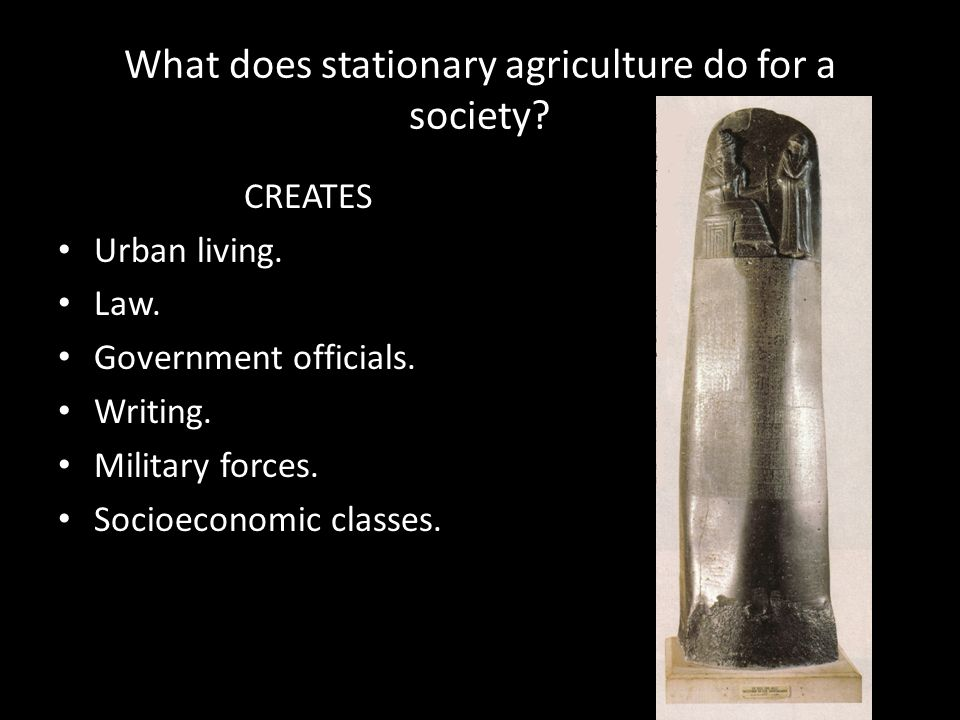 What does stationary agriculture do for a society