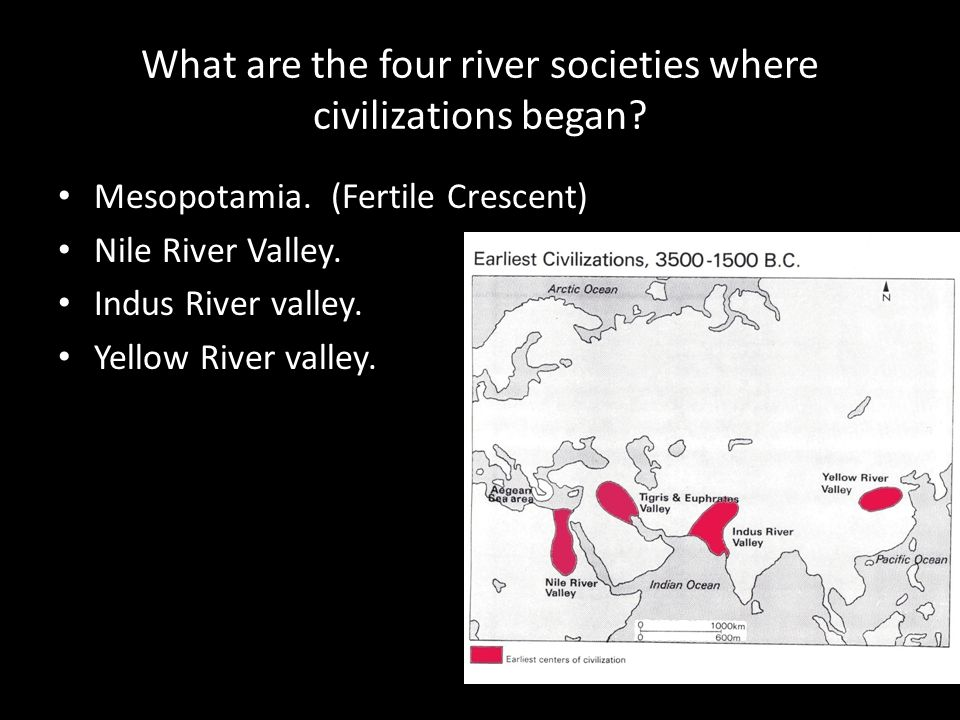 What are the four river societies where civilizations began