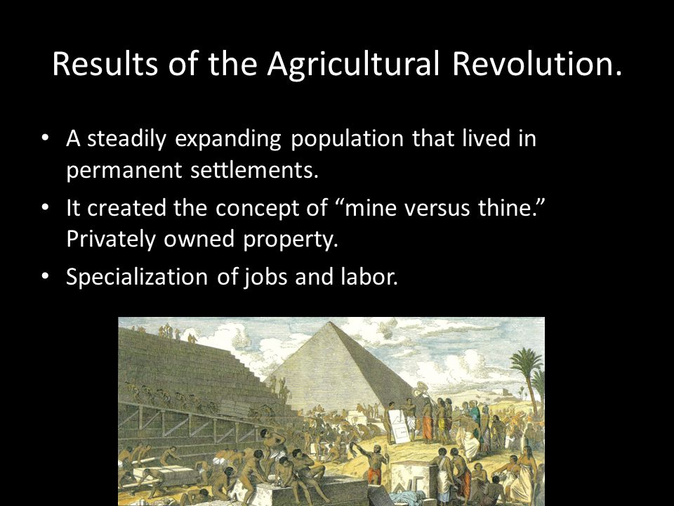 Results of the Agricultural Revolution.
