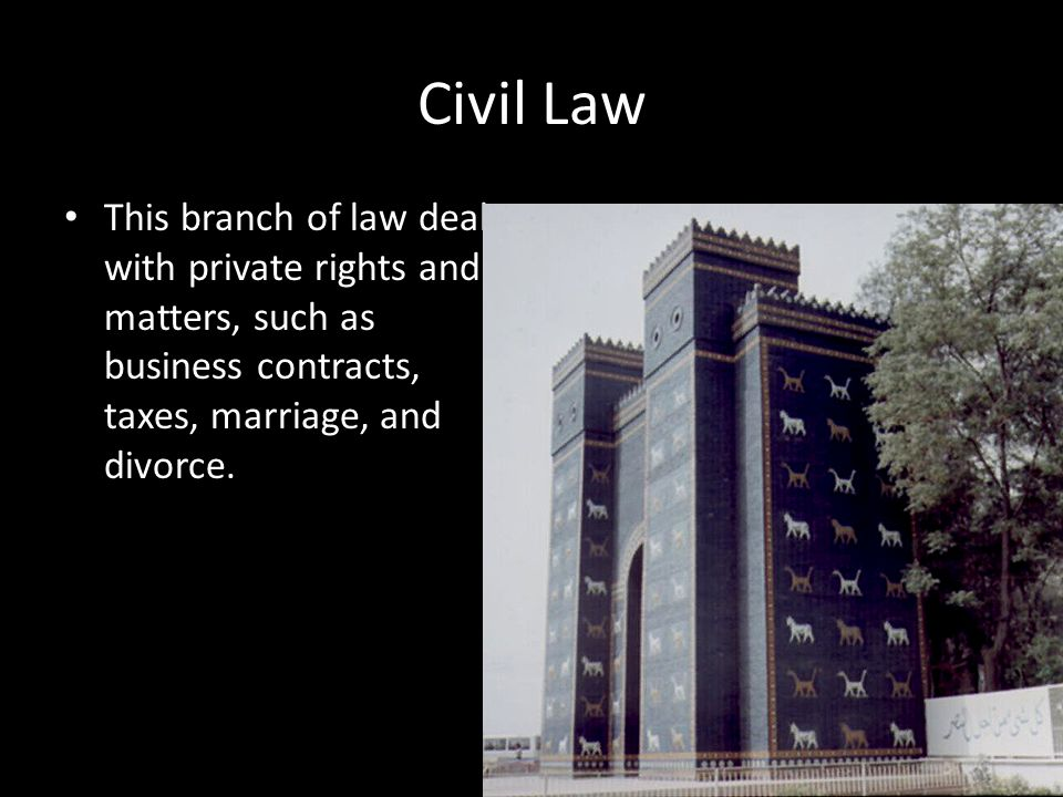 Civil Law This branch of law deals with private rights and matters, such as business contracts, taxes, marriage, and divorce.