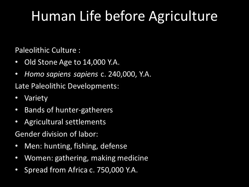 Human Life before Agriculture