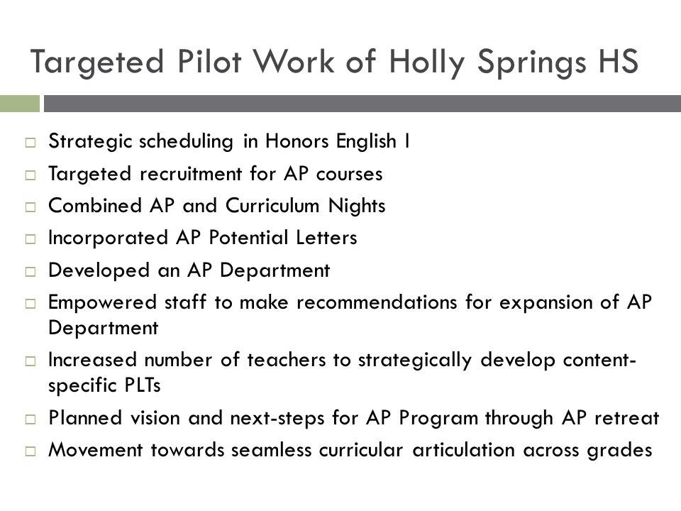 Targeted Pilot Work of Holly Springs HS