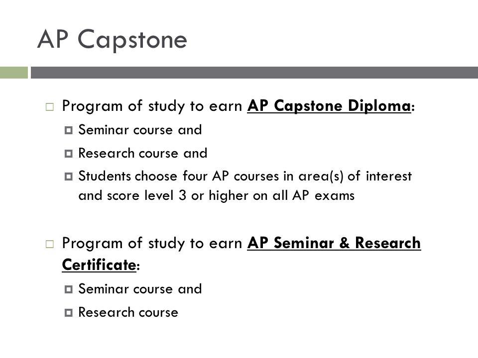 AP Capstone Program of study to earn AP Capstone Diploma:
