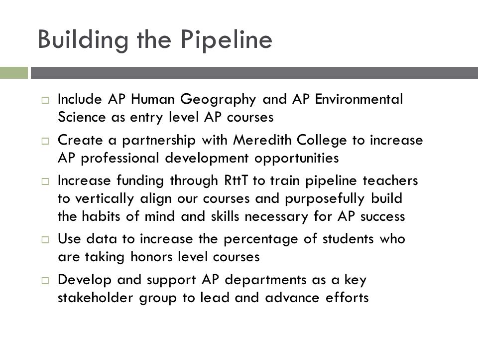 Building the Pipeline Include AP Human Geography and AP Environmental Science as entry level AP courses.