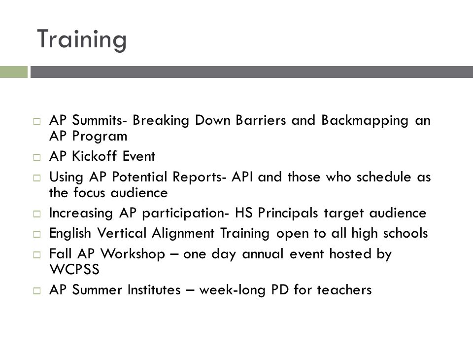Training AP Summits- Breaking Down Barriers and Backmapping an AP Program. AP Kickoff Event.