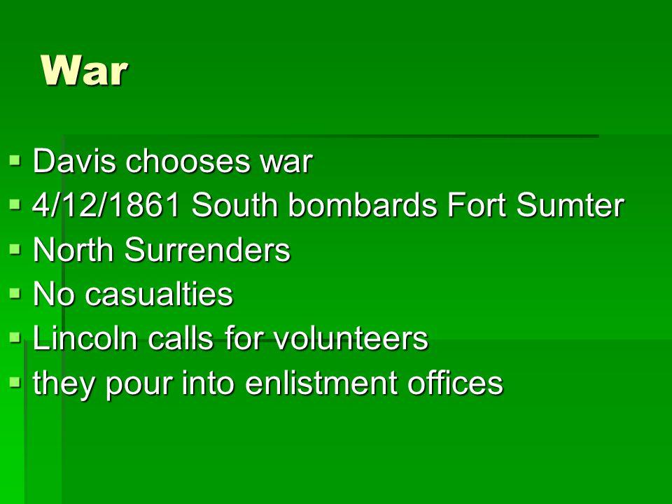 War Davis chooses war 4/12/1861 South bombards Fort Sumter