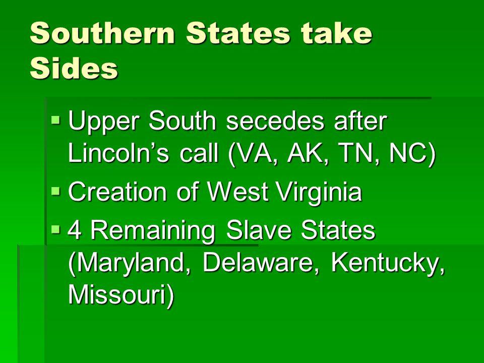 Southern States take Sides
