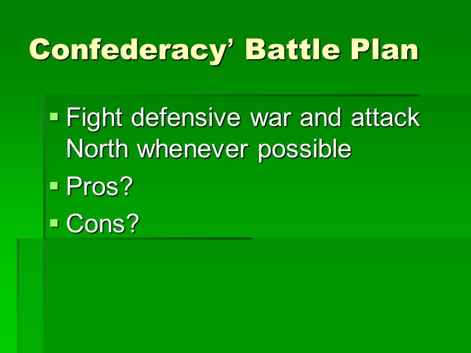 Confederacy' Battle Plan