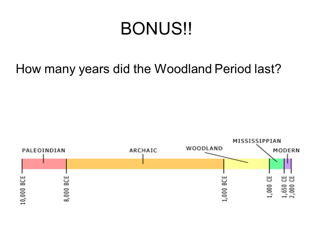BONUS!! How many years did the Woodland Period last