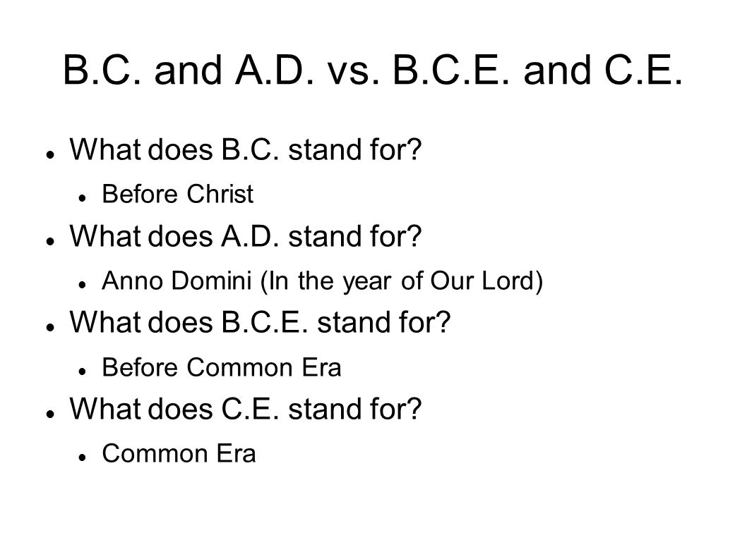 B.C. and A.D. vs. B.C.E. and C.E. What does B.C. stand for