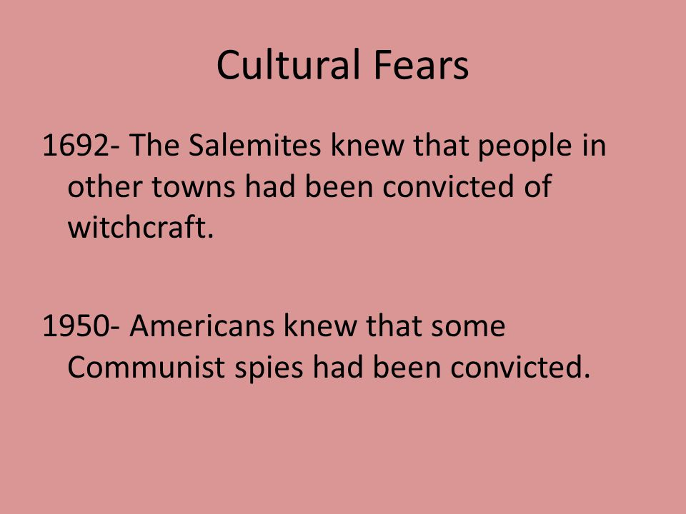 Cultural Fears