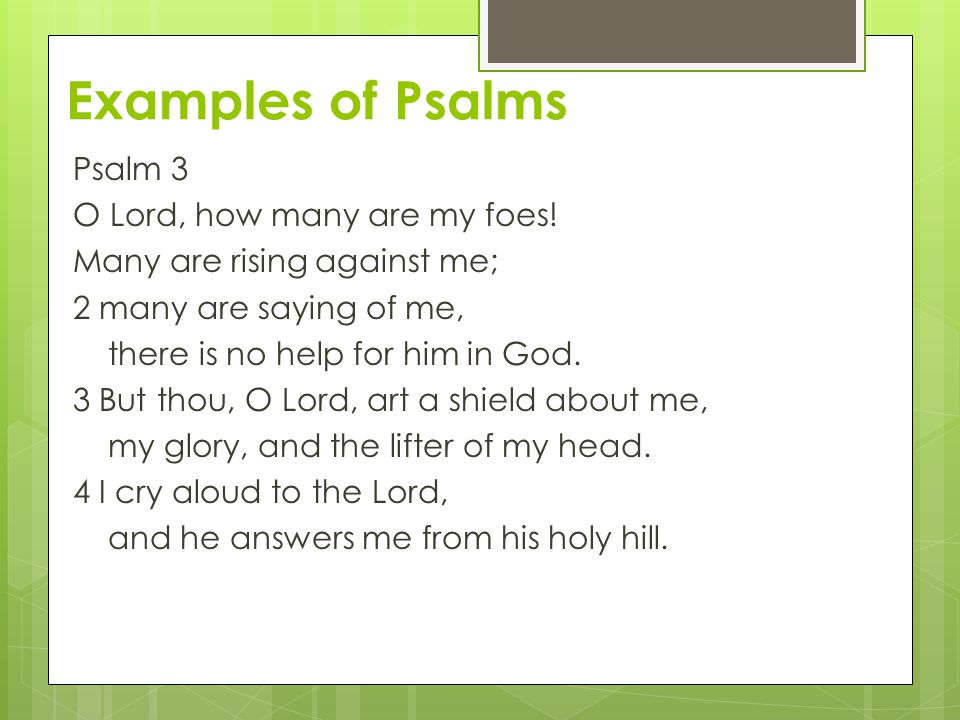 Examples of Psalms