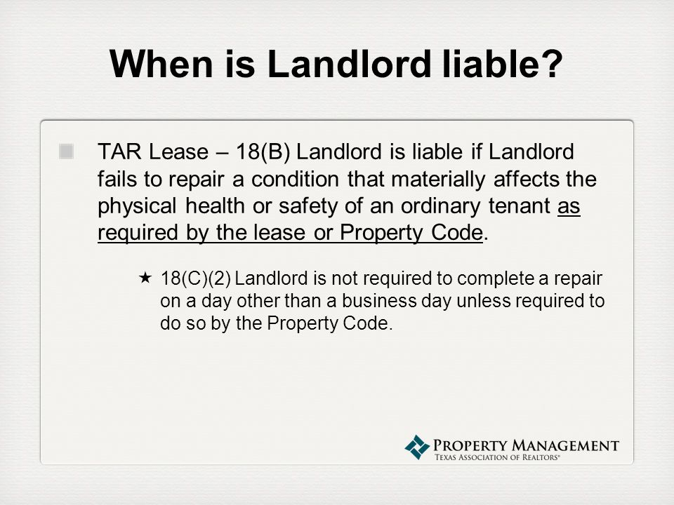 When is Landlord liable