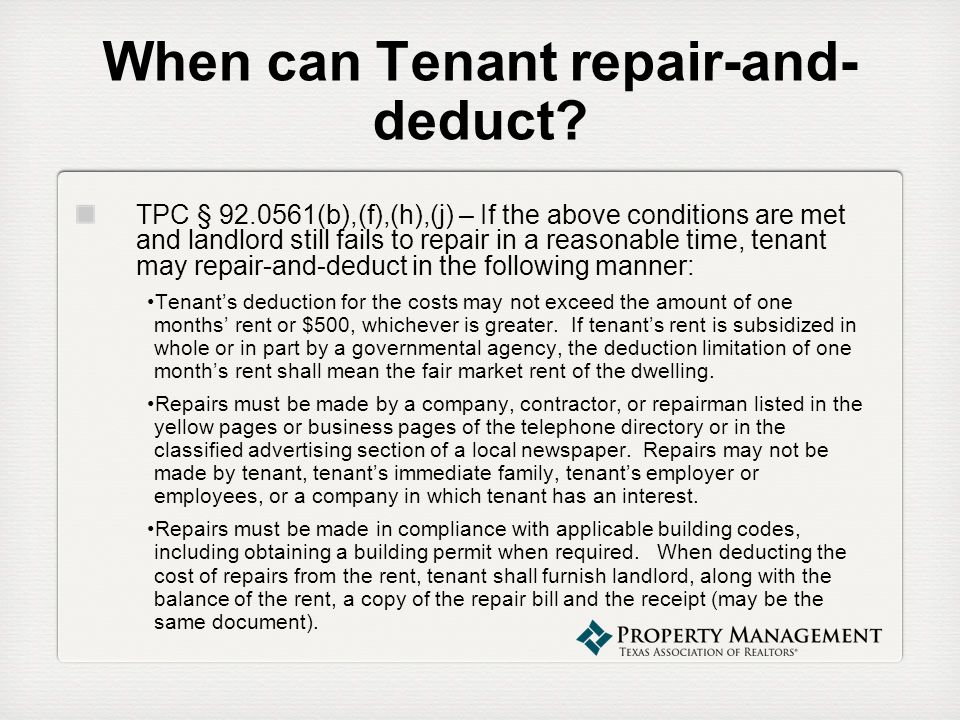 When can Tenant repair-and-deduct
