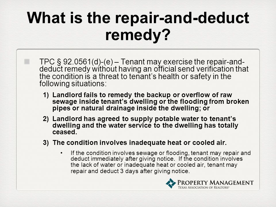 What is the repair-and-deduct remedy