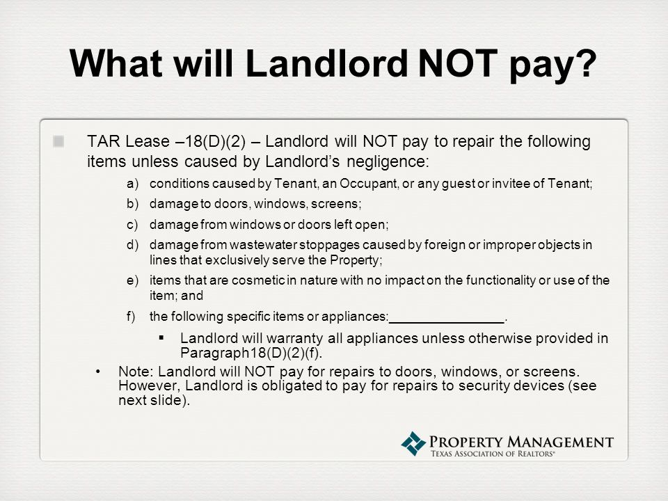 What will Landlord NOT pay