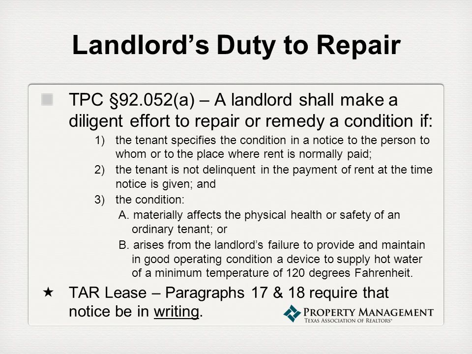 Landlord's Duty to Repair