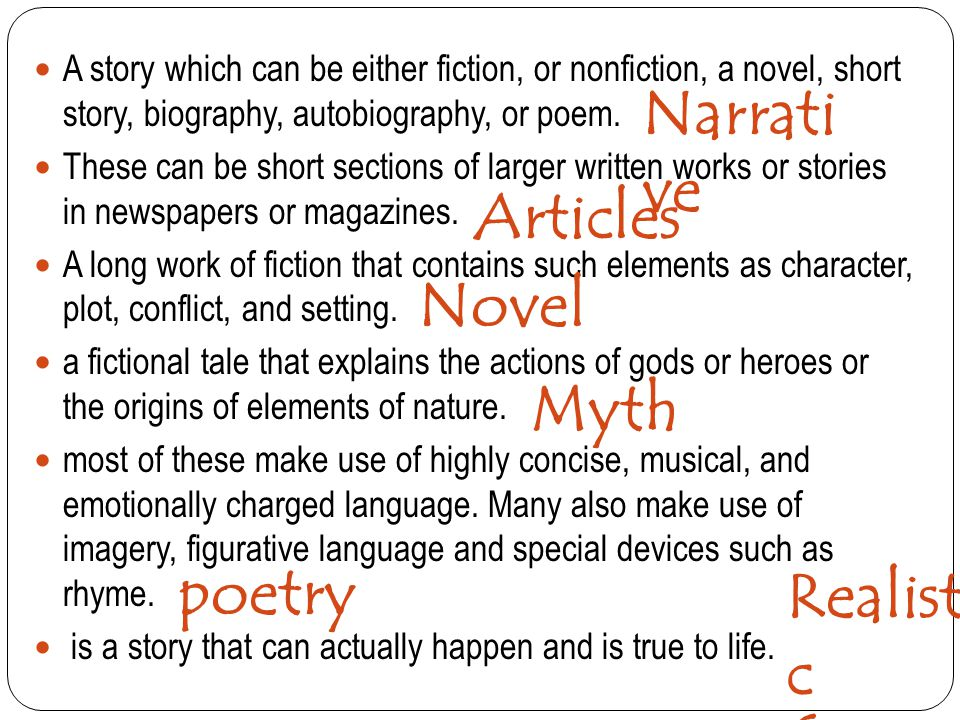 Narrative Articles Novel Myth poetry Realistic fiction