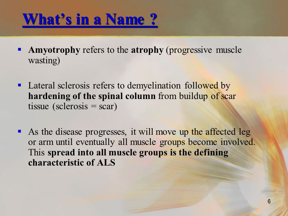 What's in a Name Amyotrophy refers to the atrophy (progressive muscle wasting)