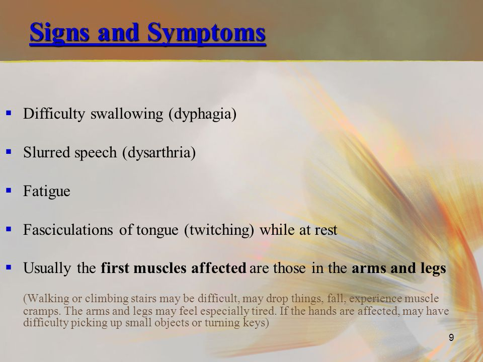 Signs and Symptoms Difficulty swallowing (dyphagia)