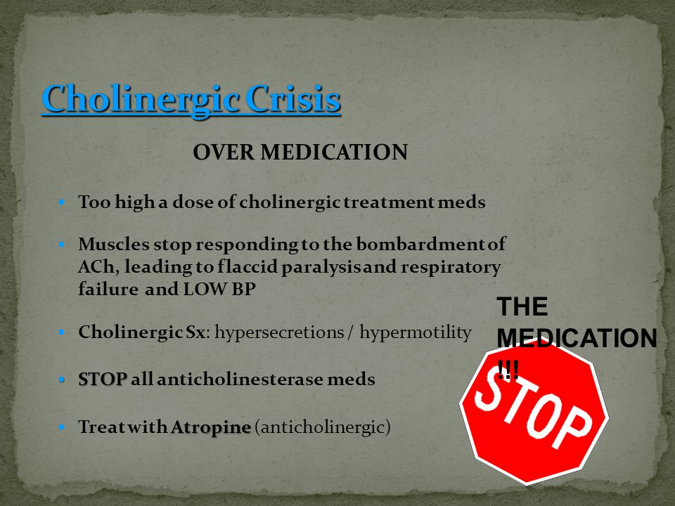 Cholinergic Crisis THE MEDICATION !!! OVER MEDICATION