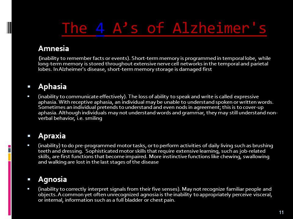 The 4 A's of Alzheimer s Aphasia Apraxia Agnosia Amnesia