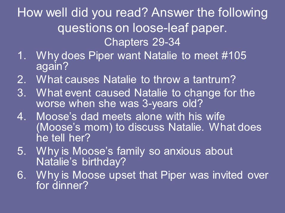 How well did you read Answer the following questions on loose-leaf paper. Chapters 29-34