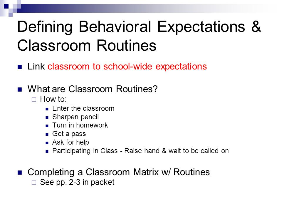 Defining Behavioral Expectations & Classroom Routines
