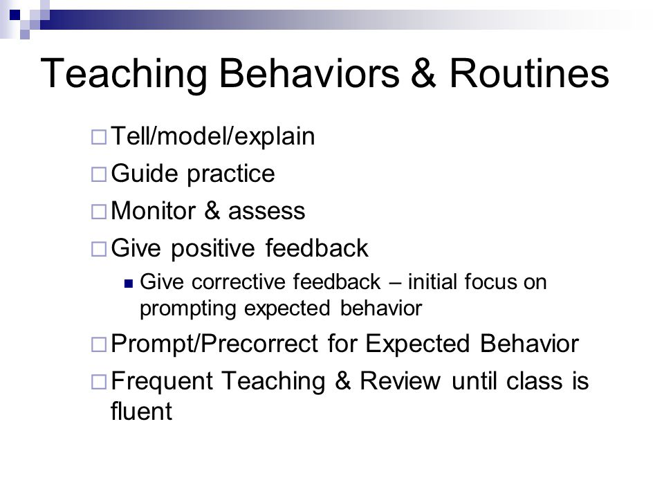 Teaching Behaviors & Routines