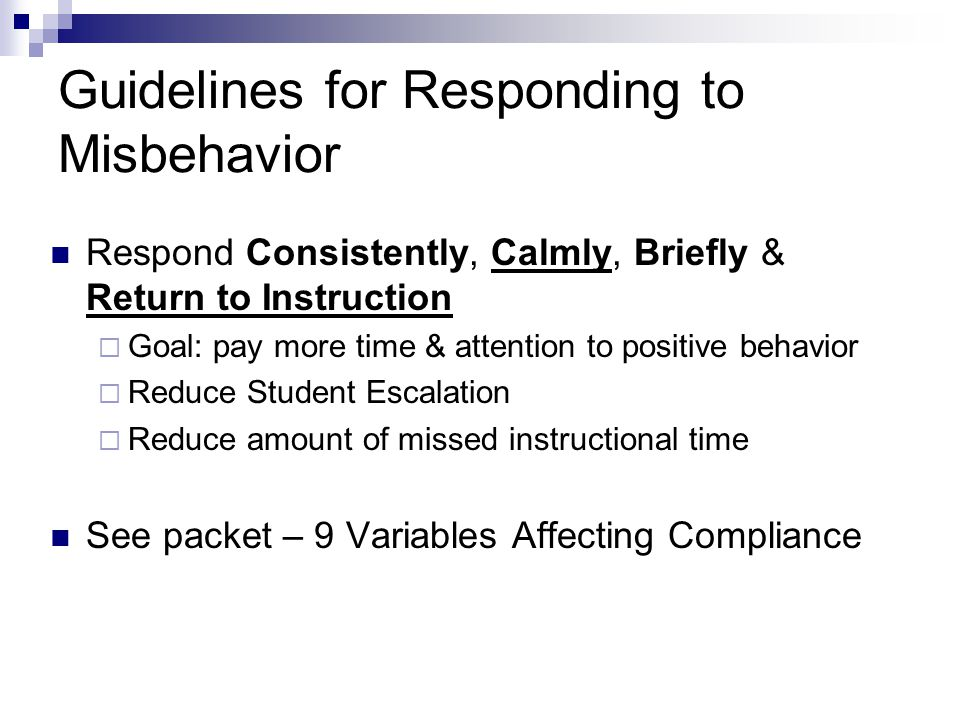 Guidelines for Responding to Misbehavior