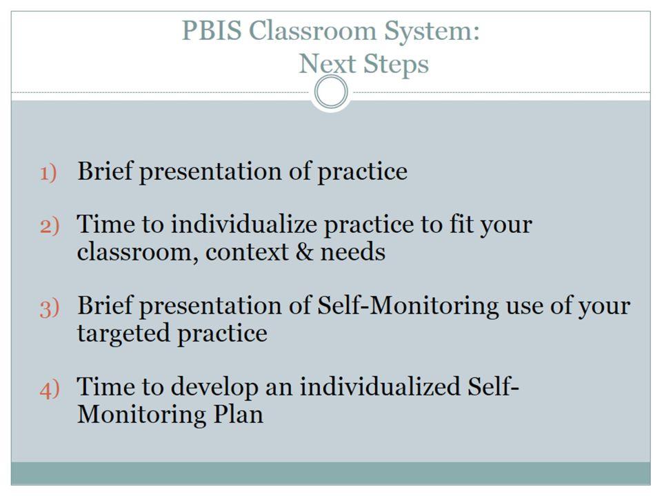 PBIS Classroom System: Next Steps