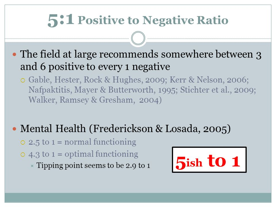5:1 Positive to Negative Ratio