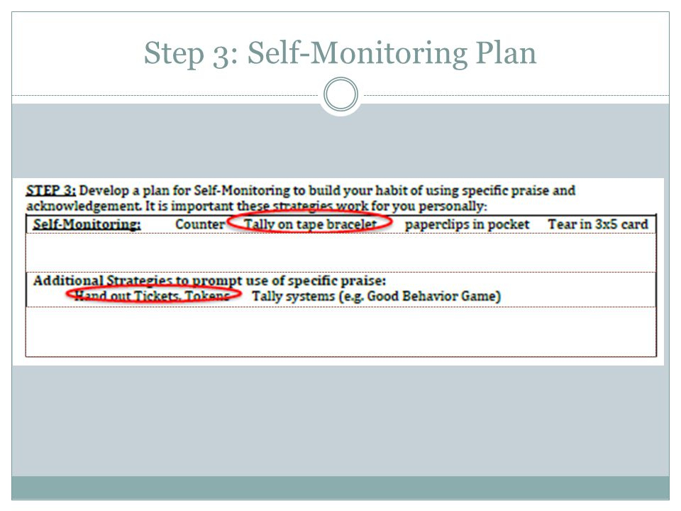 Step 3: Self-Monitoring Plan