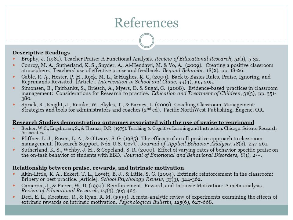 References Descriptive Readings