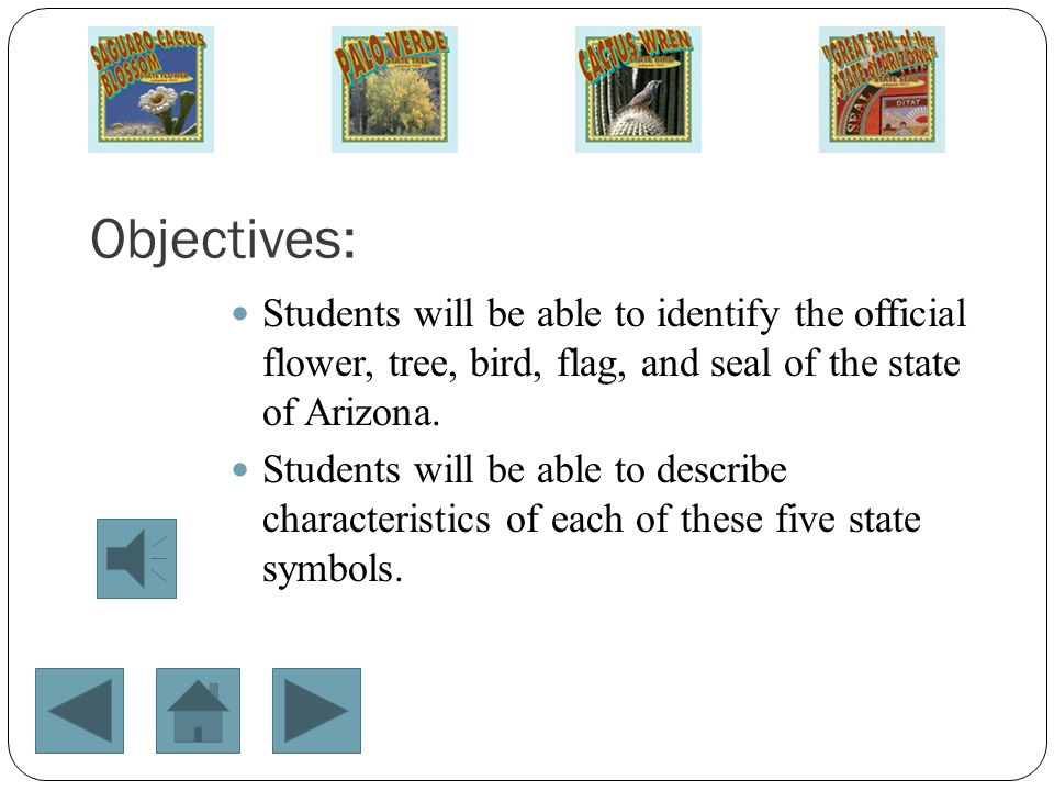 Objectives: Students will be able to identify the official flower, tree, bird, flag, and seal of the state of Arizona.