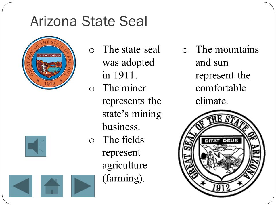 Arizona State Seal The state seal was adopted in 1911.