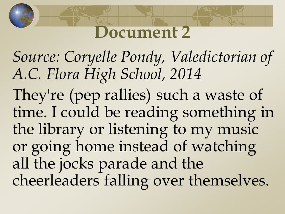 Document 2 Source: Coryelle Pondy, Valedictorian of A.C. Flora High School,