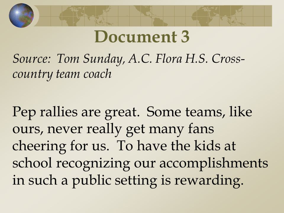 Document 3 Source: Tom Sunday, A.C. Flora H.S. Cross-country team coach.