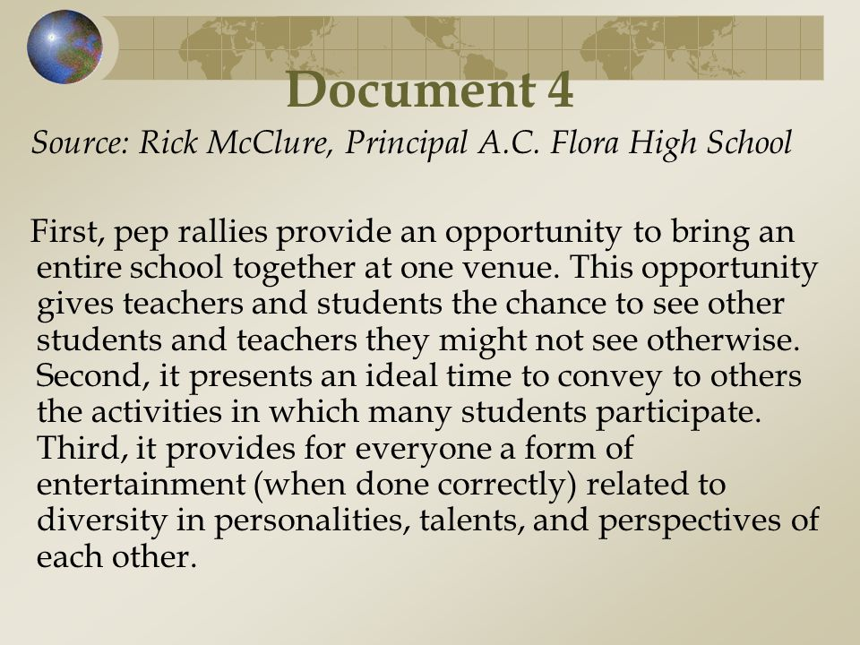 Document 4 Source: Rick McClure, Principal A.C. Flora High School
