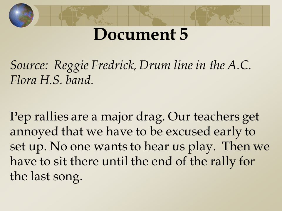 Document 5 Source: Reggie Fredrick, Drum line in the A.C. Flora H.S. band.