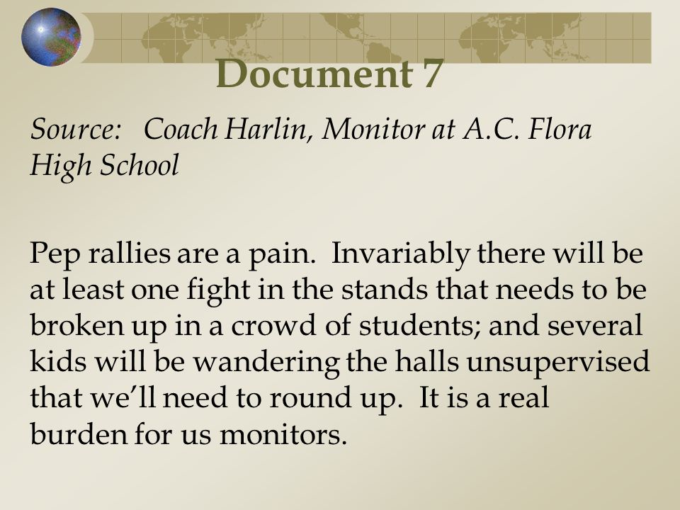 Document 7 Source: Coach Harlin, Monitor at A.C. Flora High School