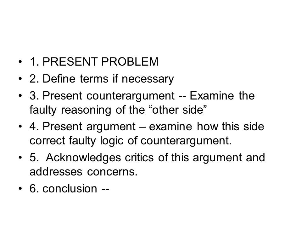 1. PRESENT PROBLEM 2. Define terms if necessary. 3. Present counterargument -- Examine the faulty reasoning of the other side